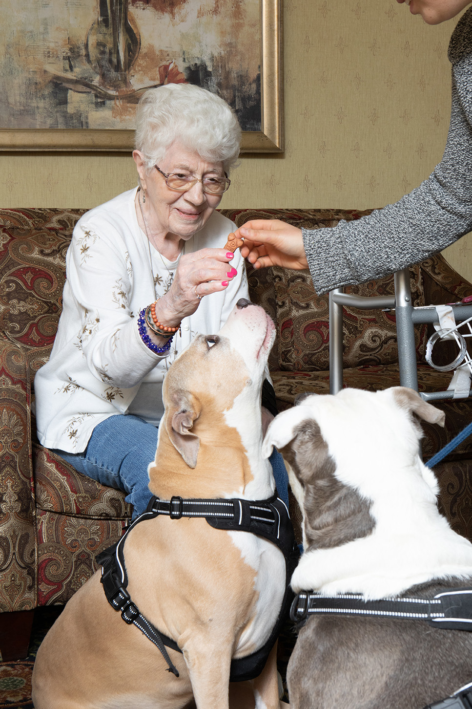 Female senior patient playing with two dogs.