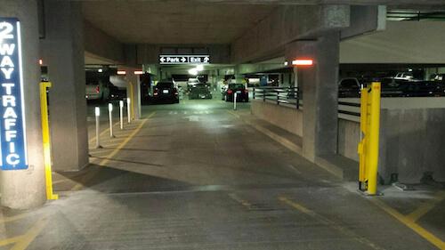 RAMP-BLOCKER Retractable Parking Deck Barrier-Open