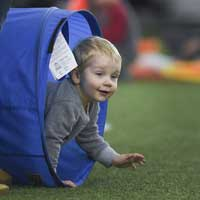 toddlers crawl and play