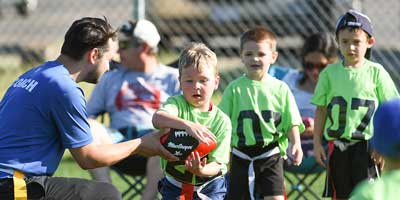 flag football intro to flag coach hand off drill
