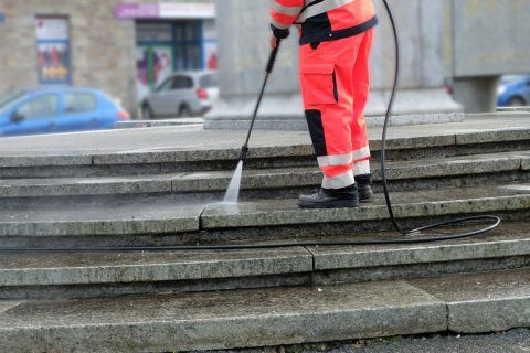 shopping center power washing project - sweeping.com
