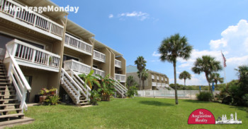 """View of condos from the ground with the text """"# Mortgage Monday"""" in the top left corner"""