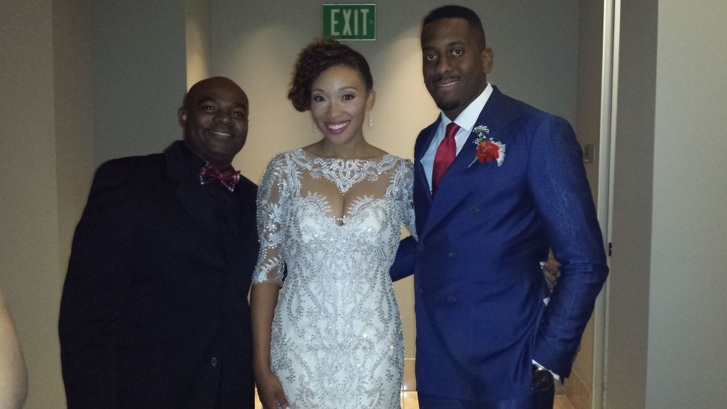MY DJs Tony Slater with Bride and Groom at Ultimate Skybox Wedding Reception