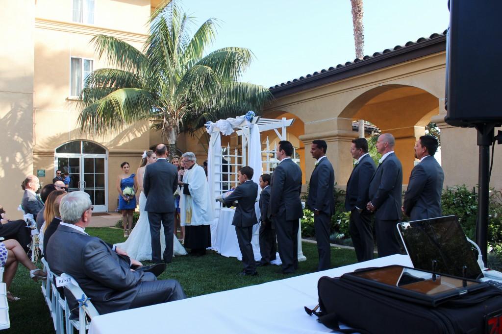 MY DJs Wedding Ceremony Setup at Hilton Garden Inn Carlsbad