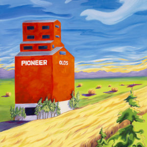 Grain Elevator Painting Canvas Print available at https://thecreationguild.com/decorator-prints/