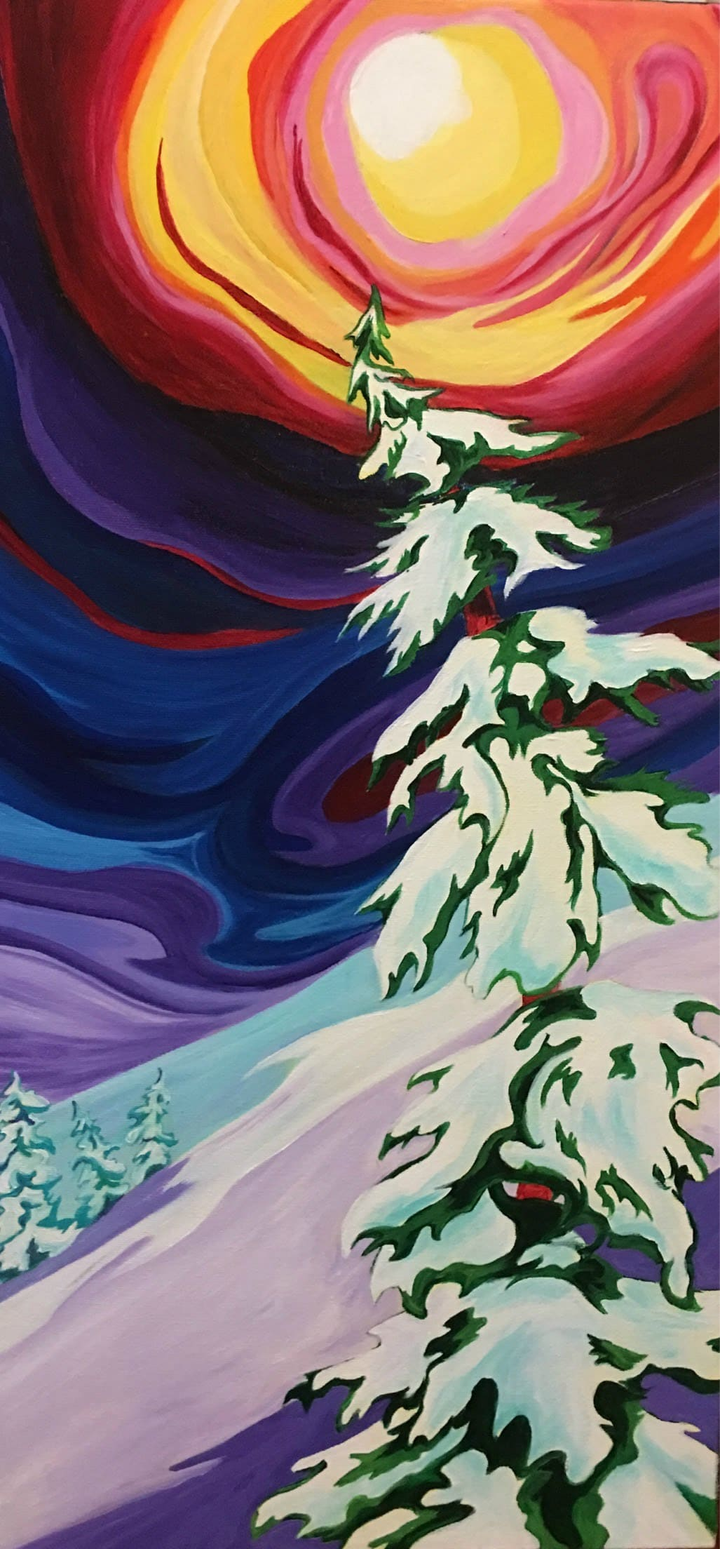 Colorful art skies and trees by Janice Gallant www.thecreationguild.com