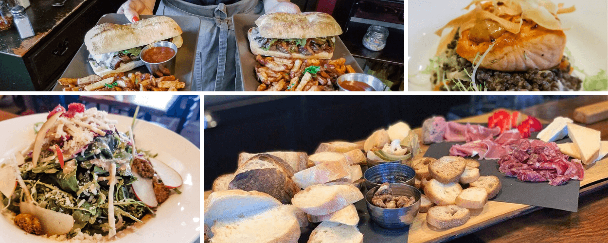 A collage of meals in the Spirit Tree Bistro