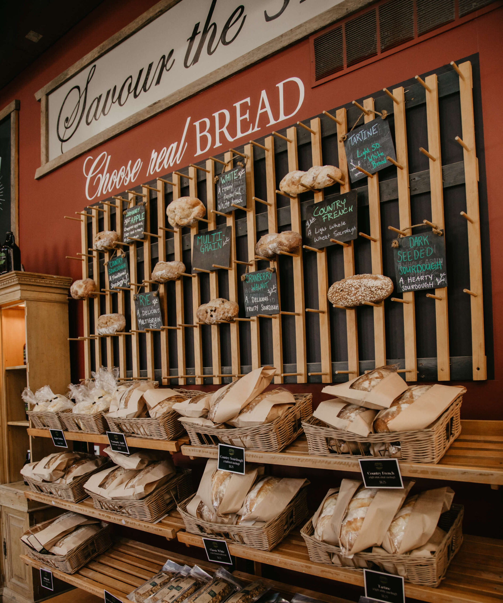 The wall of fresh bread at Spirit Tree