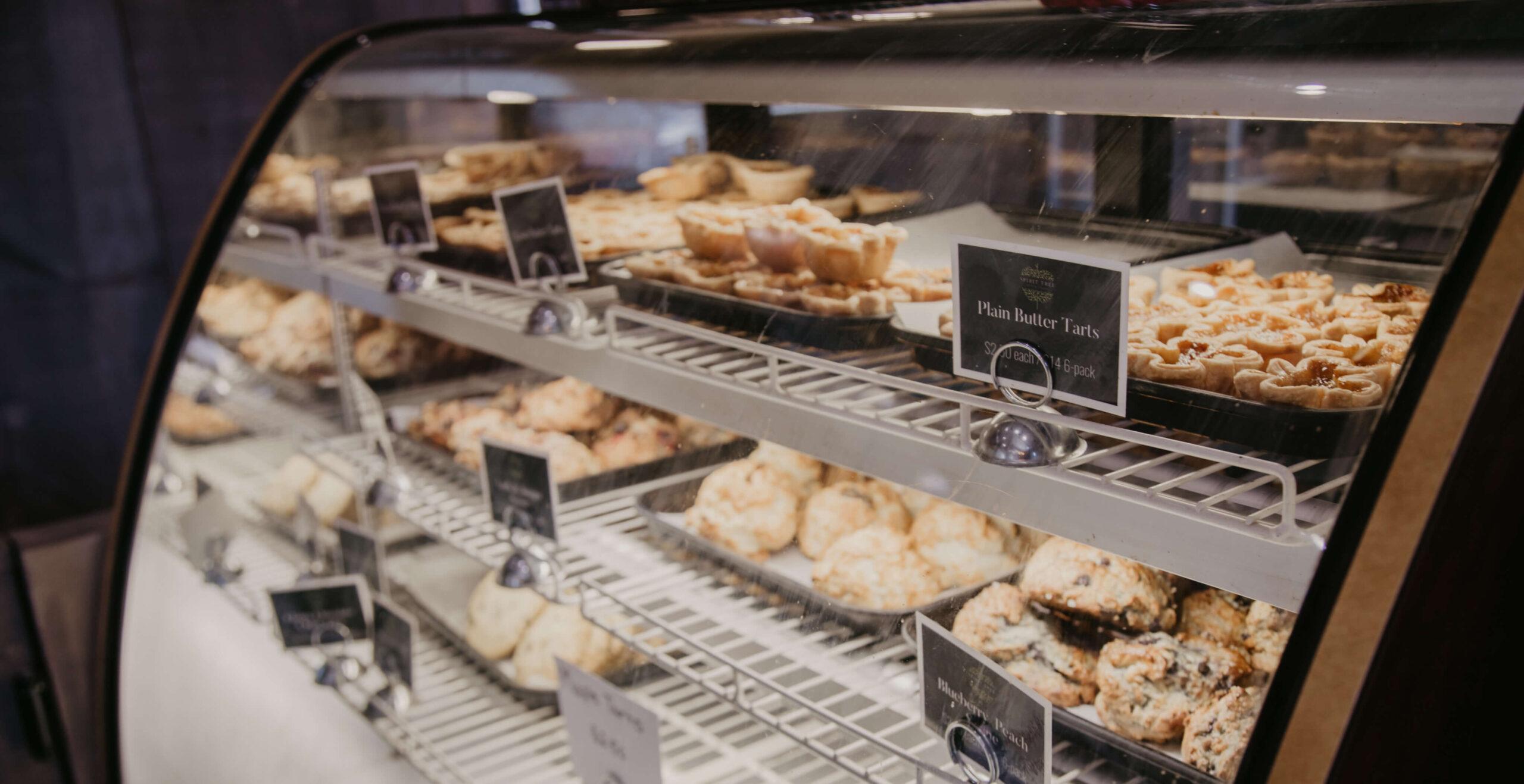 The fridge full of tarts and scones at the Spirit Tree Farm Shoppe