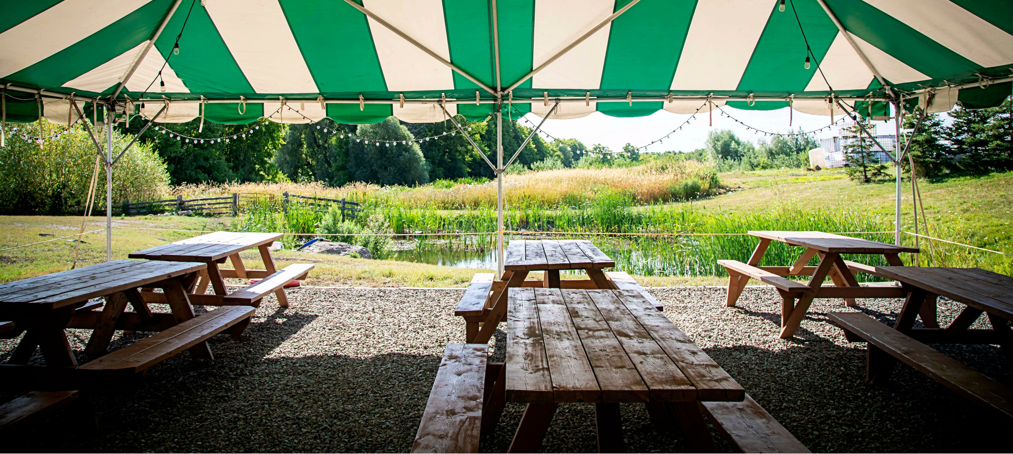 The outdoor dining at Spirit Tree is in the Tent