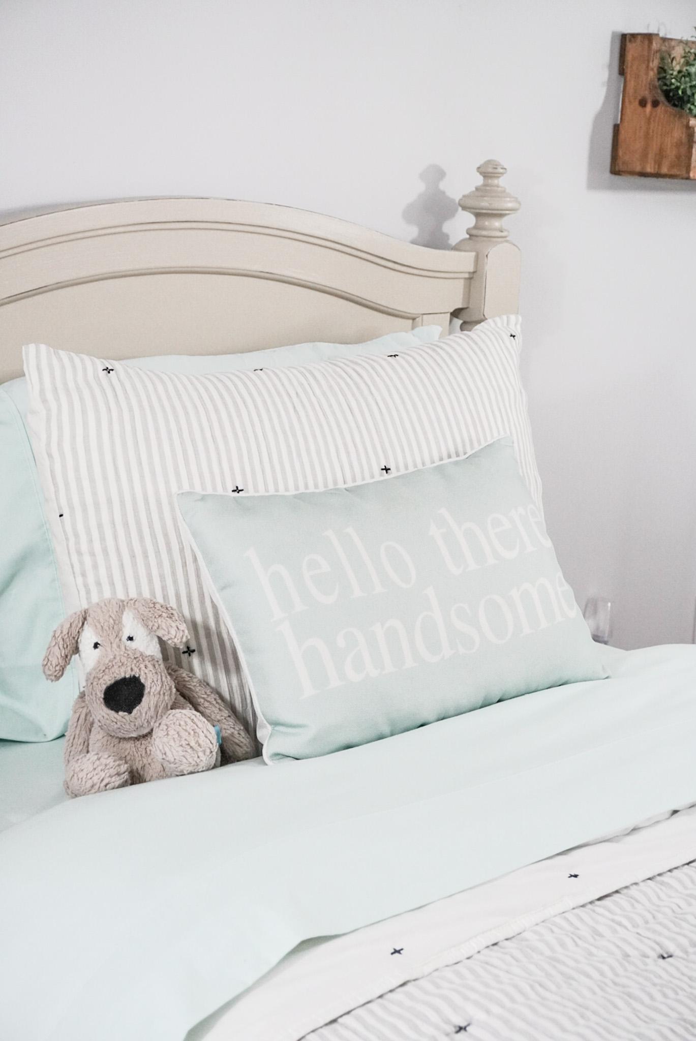 mint sheets, ticking stripe comforter set