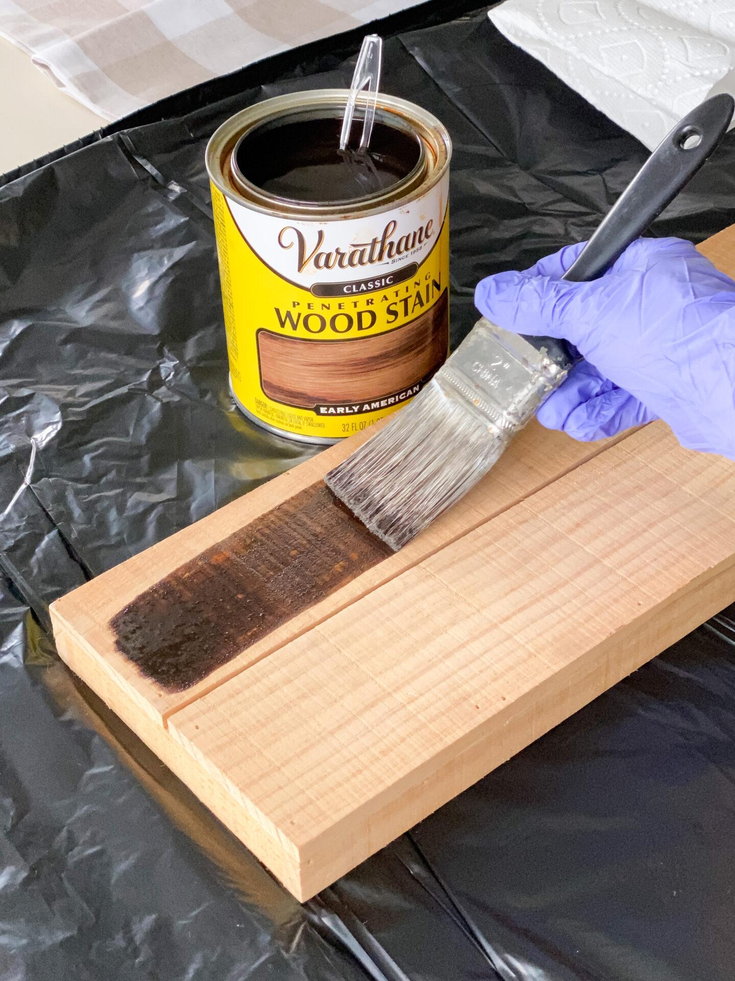 staining pine wood.