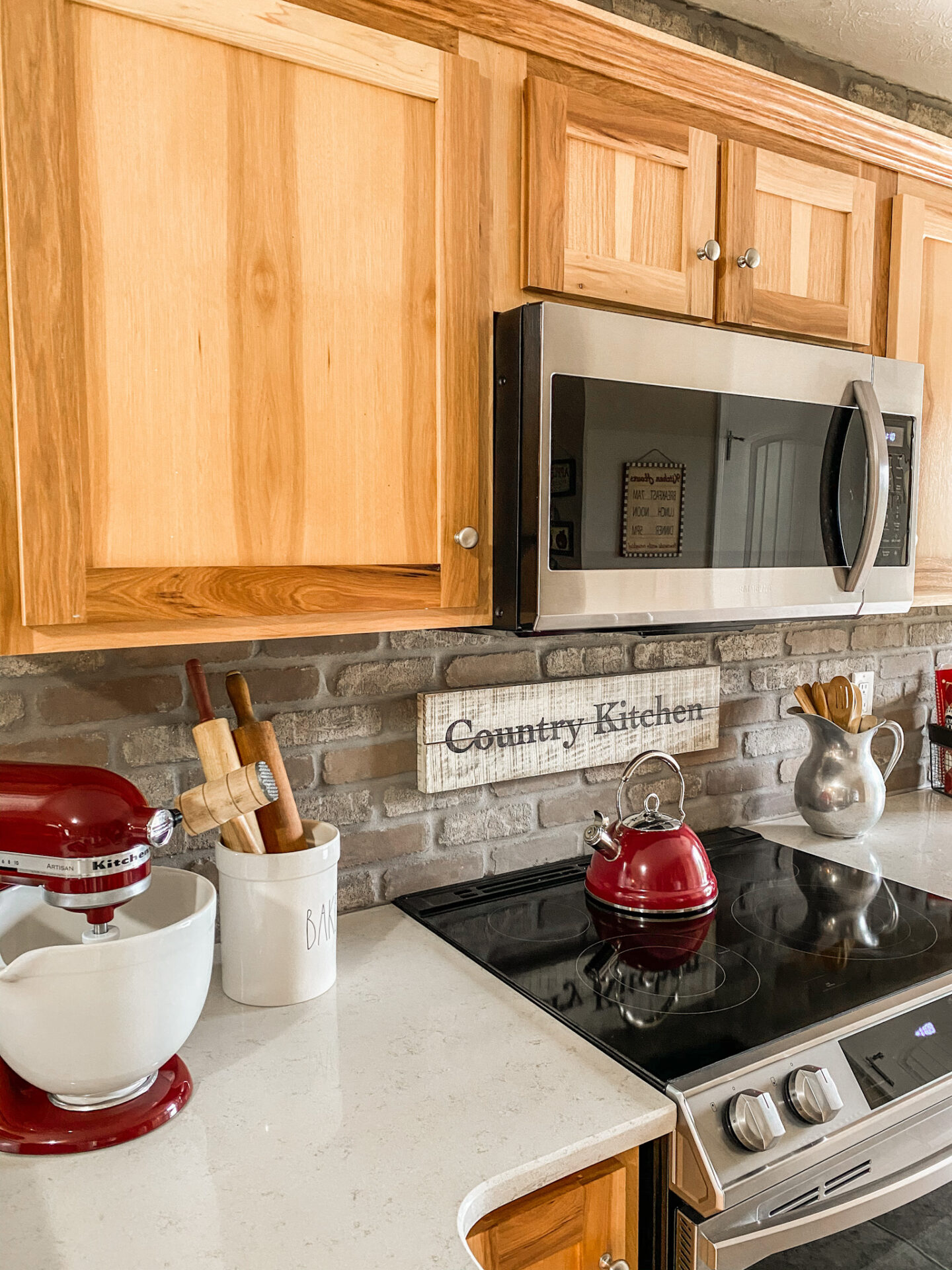 beautiful country kitchen with custom, hand painted sign.