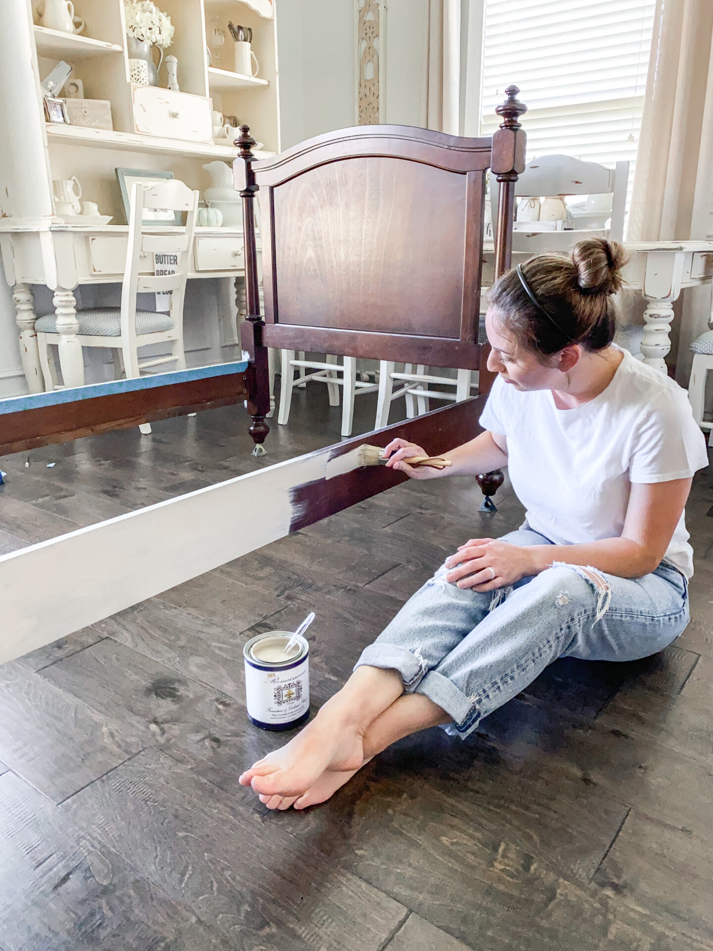 chalk painting bed