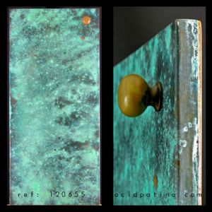 Kitchen cabinet door with blue patina copper sheet