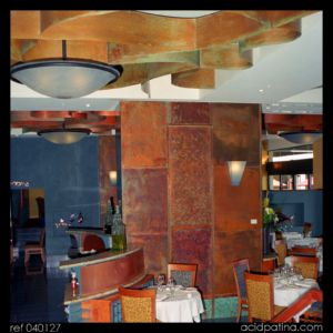 Patinated Copper Feature Walls & ceiling in Restaurant
