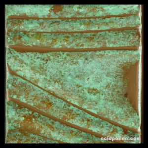 green patina on copper wall sculpture