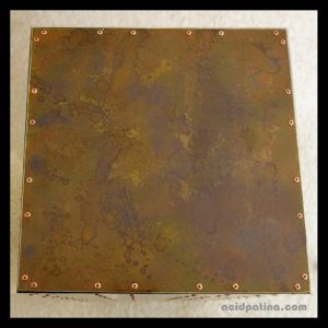 Patinated brass table top