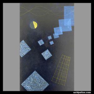 Blue spiritual squares on black painting