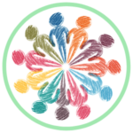 Icon for Community Education - a graphic of stick figure humans in different colors holding hands in a cirlcle