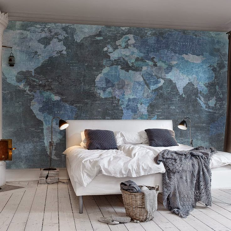shades of blue map wall