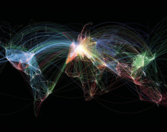 black backgound flight path map
