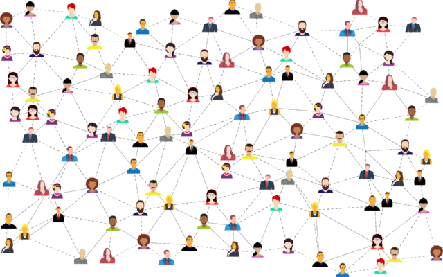The busts of a diverse group of illustrated people who are connected by lines to demonstrate collaboration and unity.