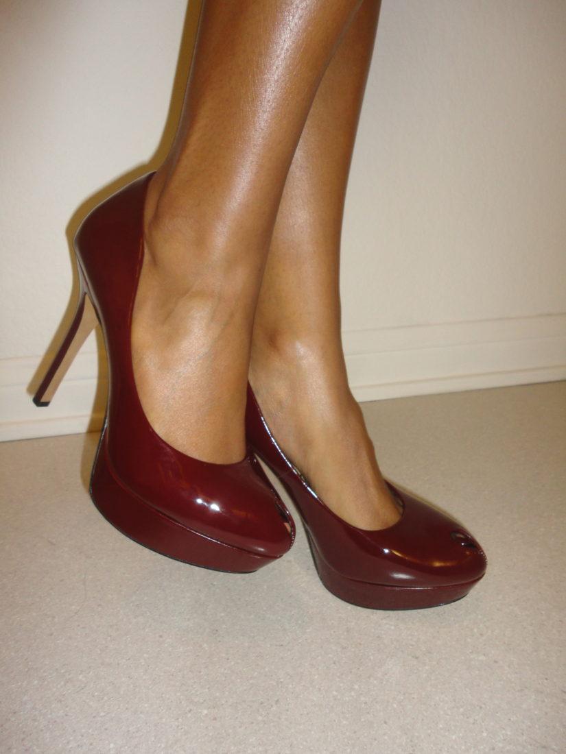 red peep toe heels