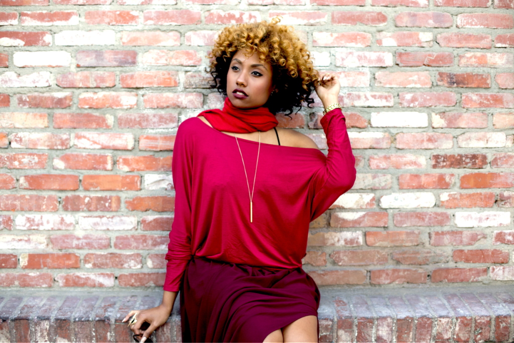monochrome, red, all red outfit,maxi skirt, natural hair, clothes minded, live clothes minded