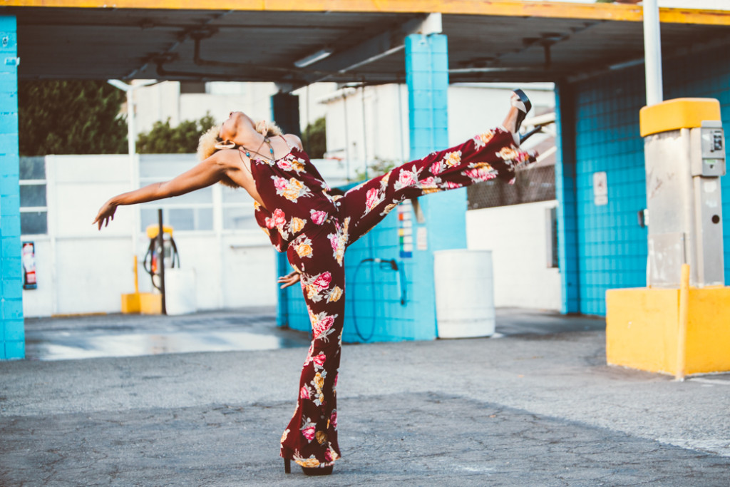 Foxy Cleopatra inspired outfit with floral jumpsuit in long beach car wash