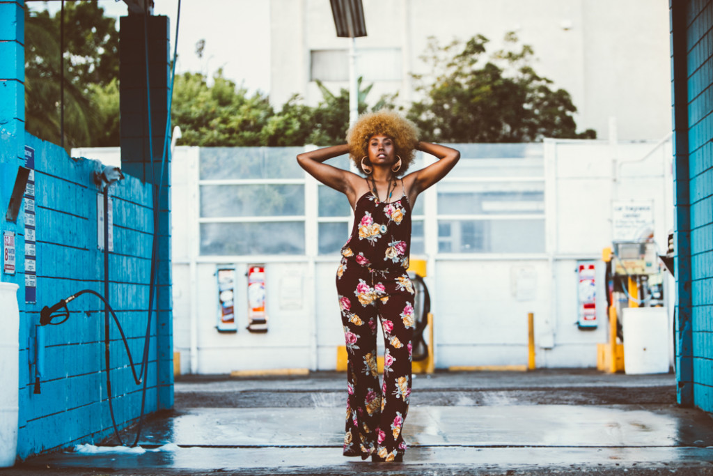 Foxy Cleopatra inspired outfit with floral jumpsuit