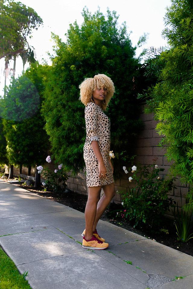 leopard dress with asics sneakers-re-wear-relax-roar