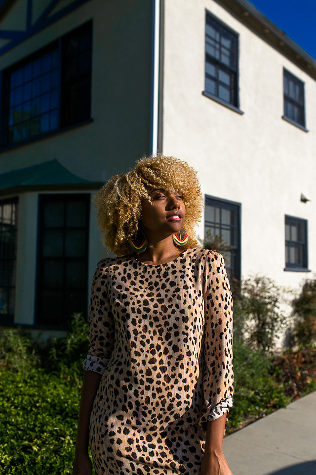 leopard dress with asics sneakers-liveclothesminded-natural hair