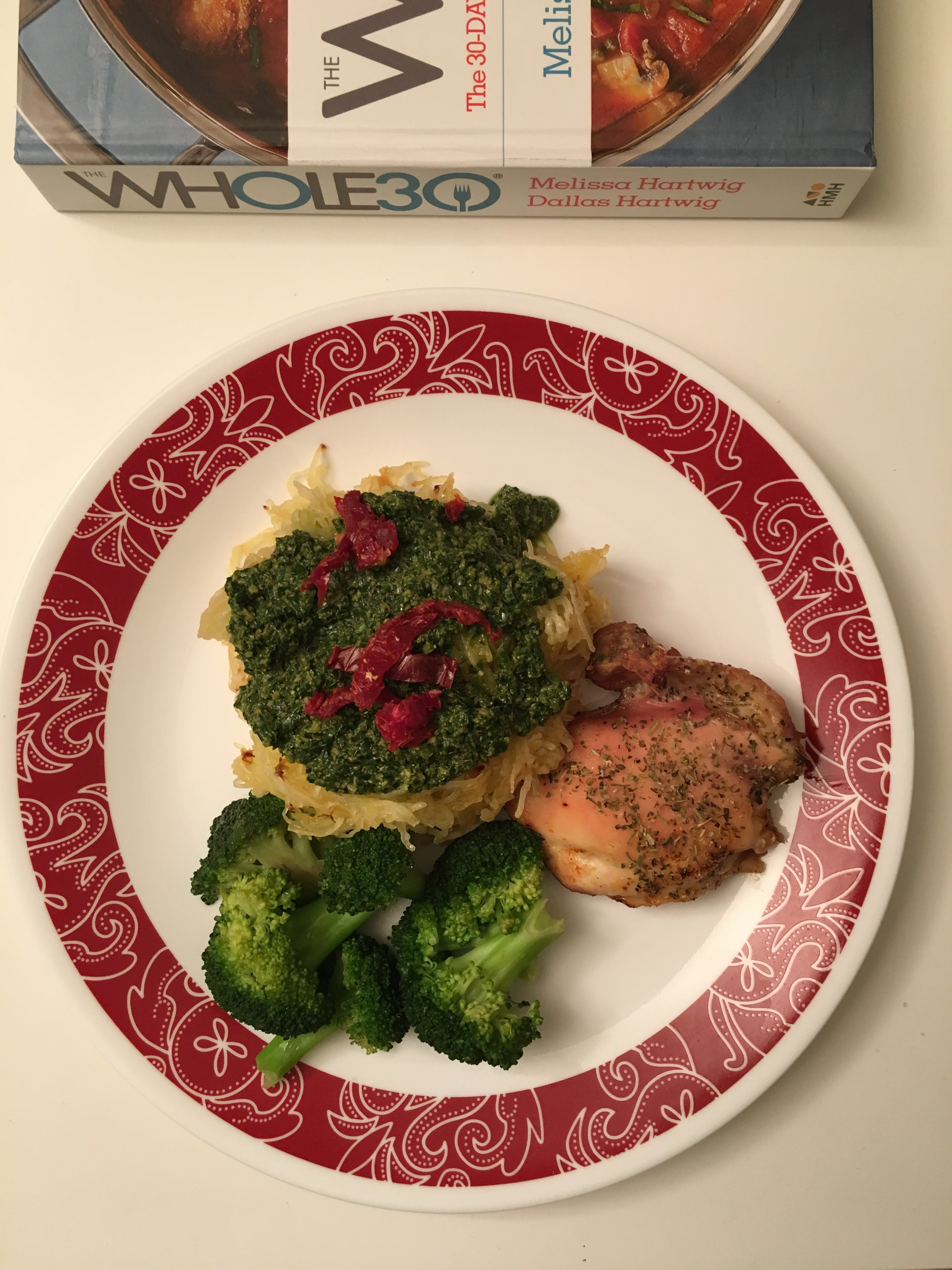 Whole 30 Approved Meal: Spaghetti Squash with Pesto & Baked Chicken Thighs