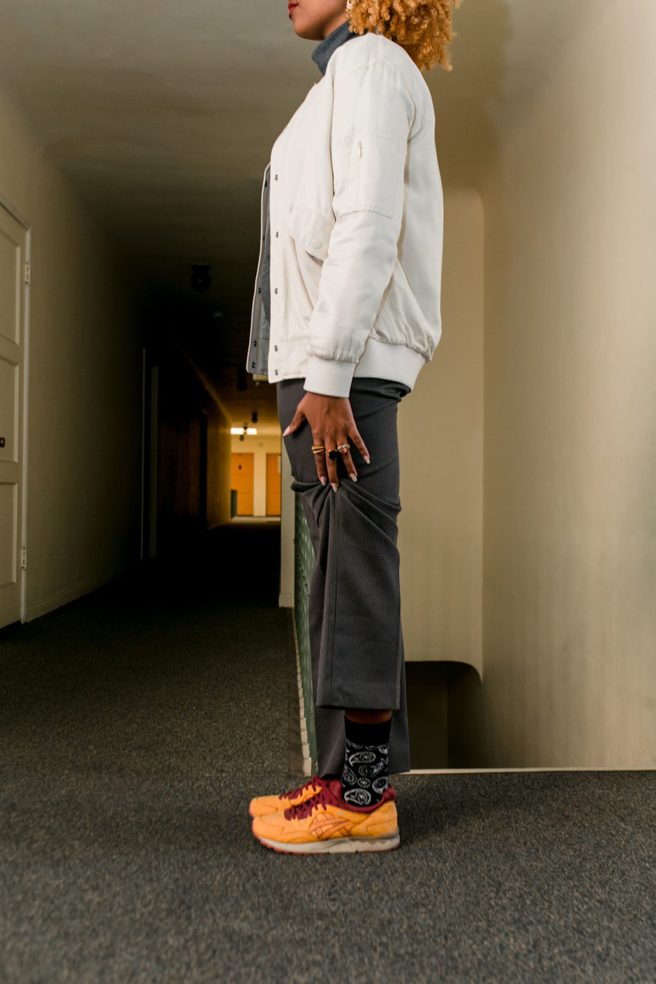 how to wear with slacks with sneakers