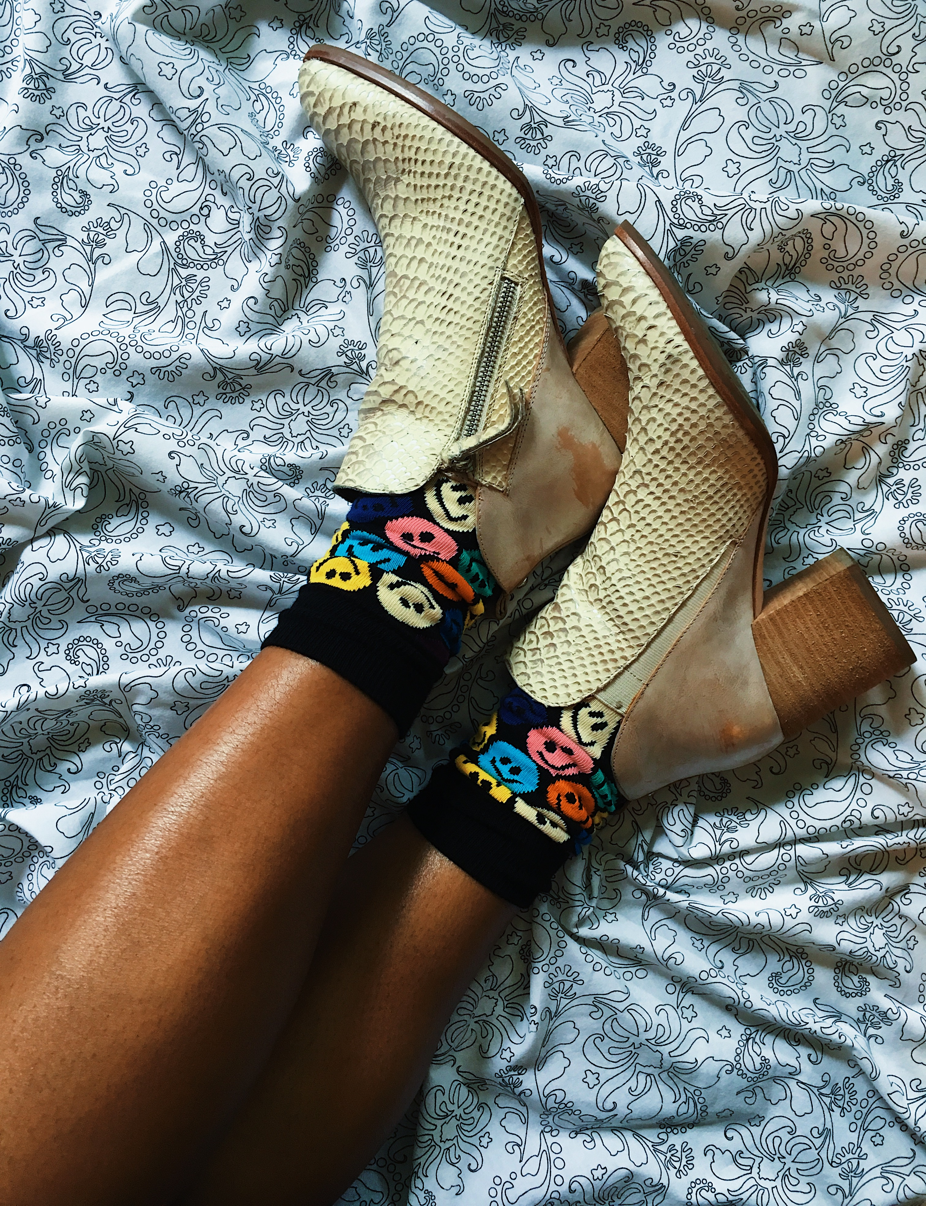 happy socks-colorful socks-snake skin booties-wear who you are-lcm