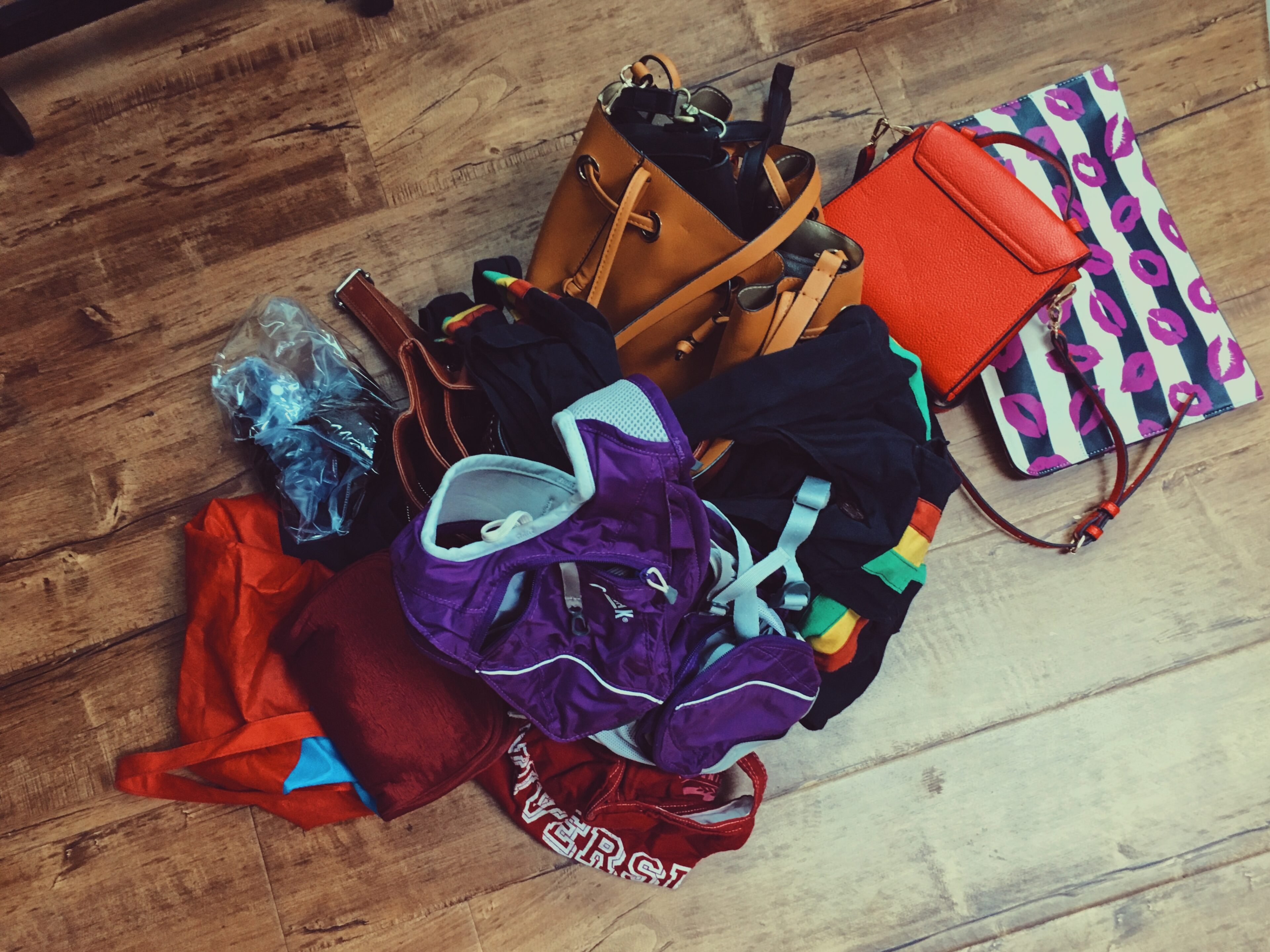 bags and purses on the floors-wear who you are