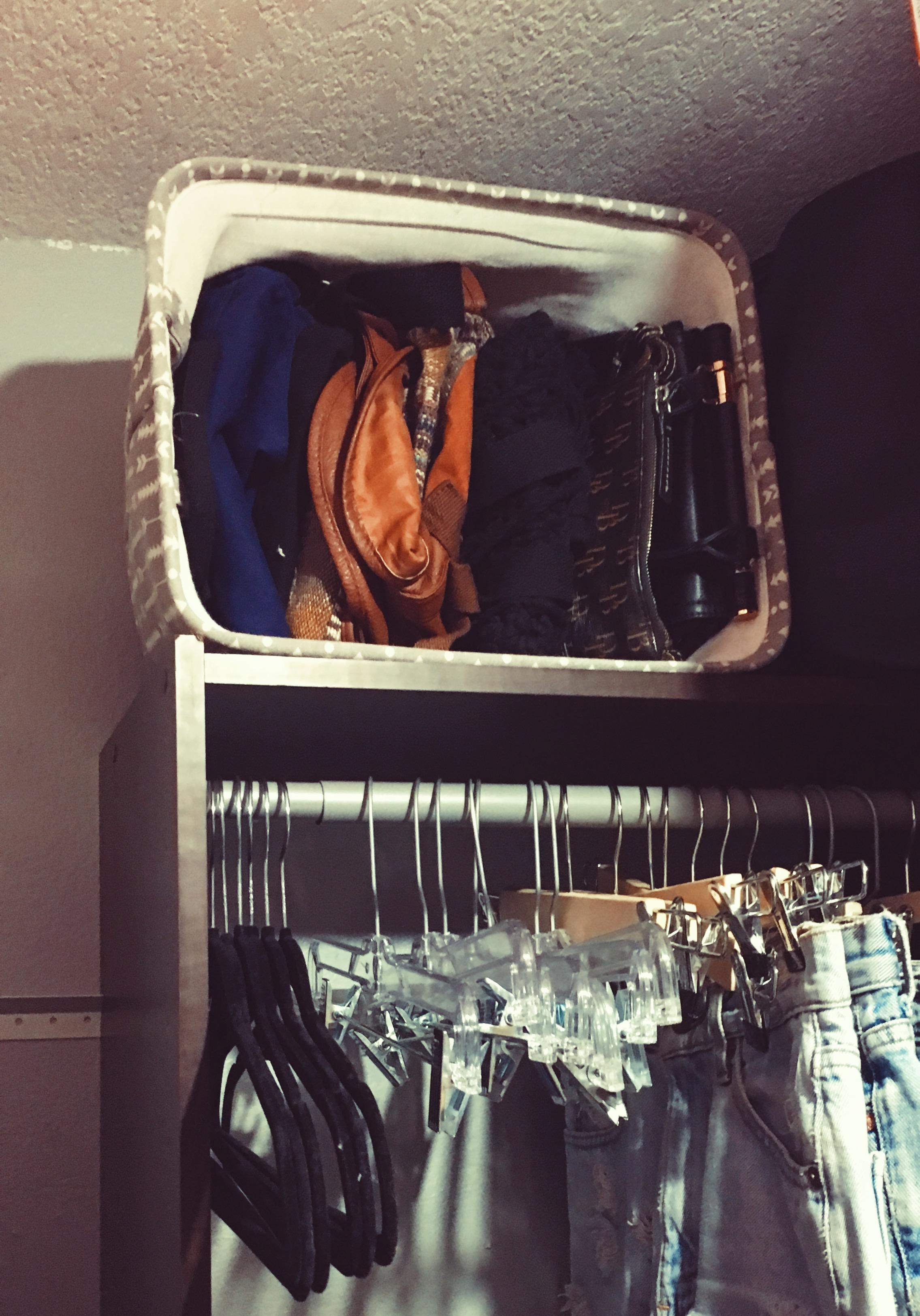 purses in a bin-purse storage-bag storage-closet organizing-wear who you are