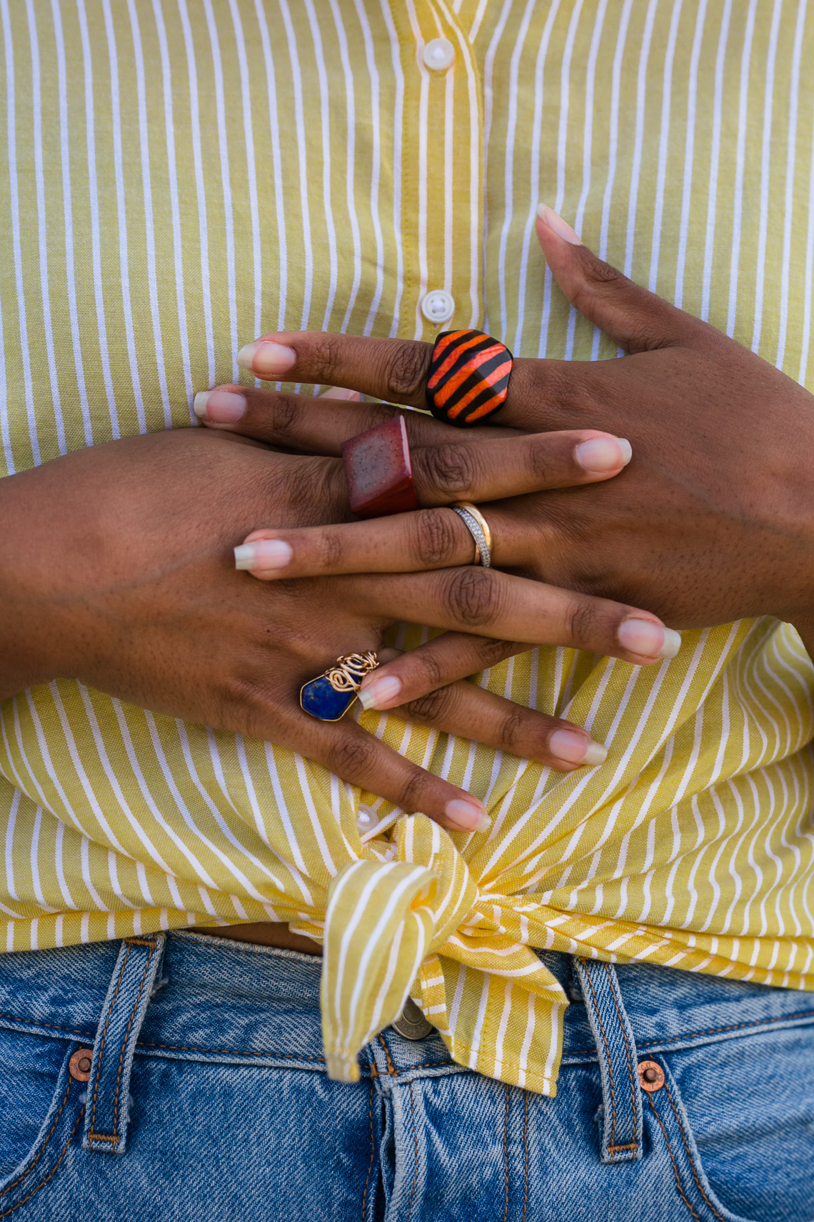 rings-levis-summer outfit-h&m-jeans-denim-yellow shirt