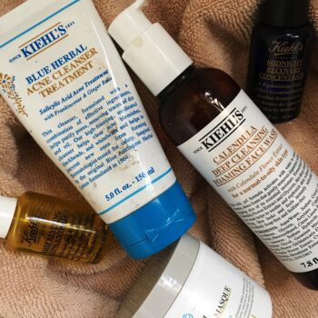 kiehl's oil-rare earth masque-calendula foaming cleanser-blue herbal acne cleanser-midnight recovery-daily reviving