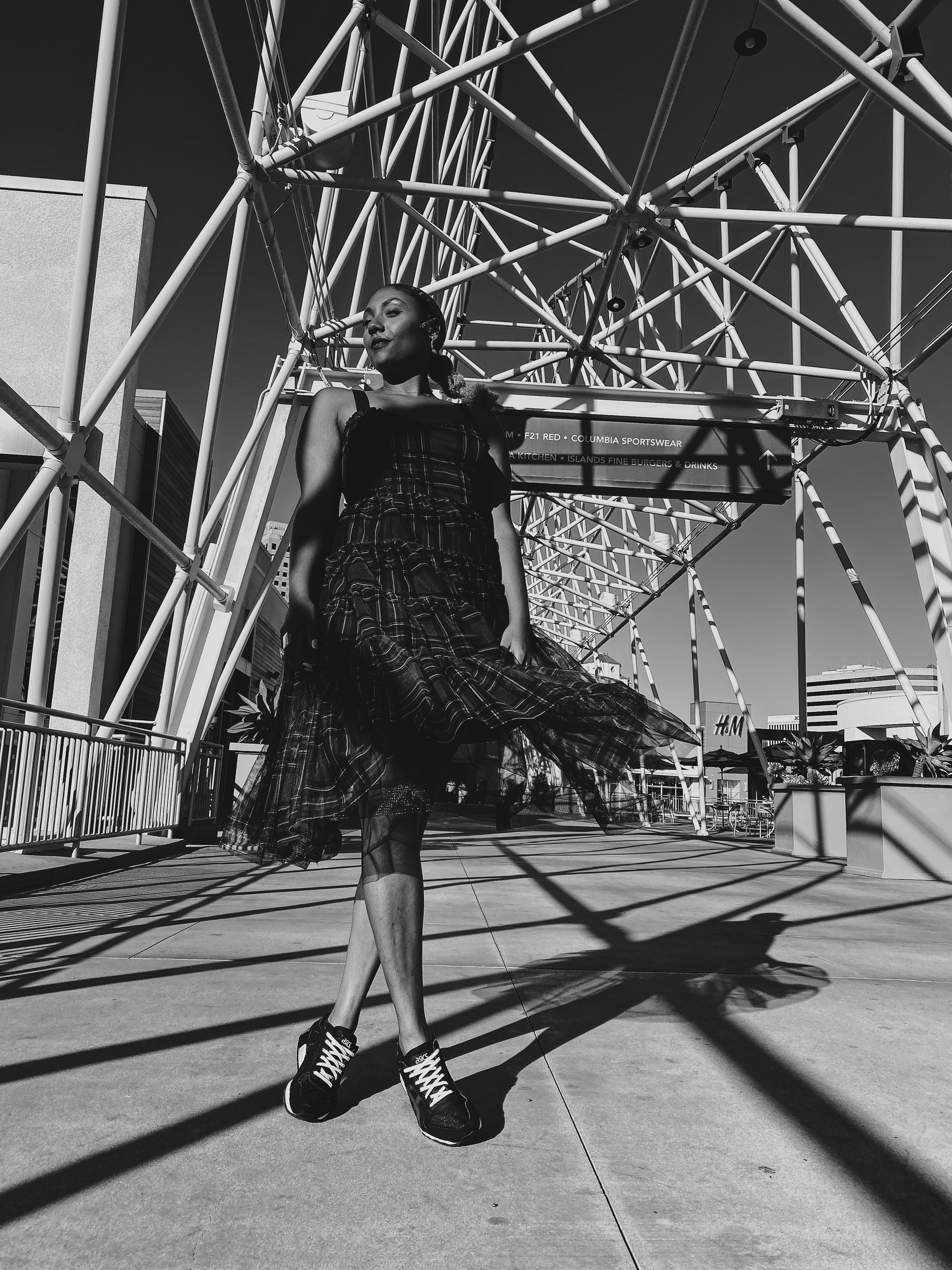 black and white photo-the pike-long beach-dress with sneakers