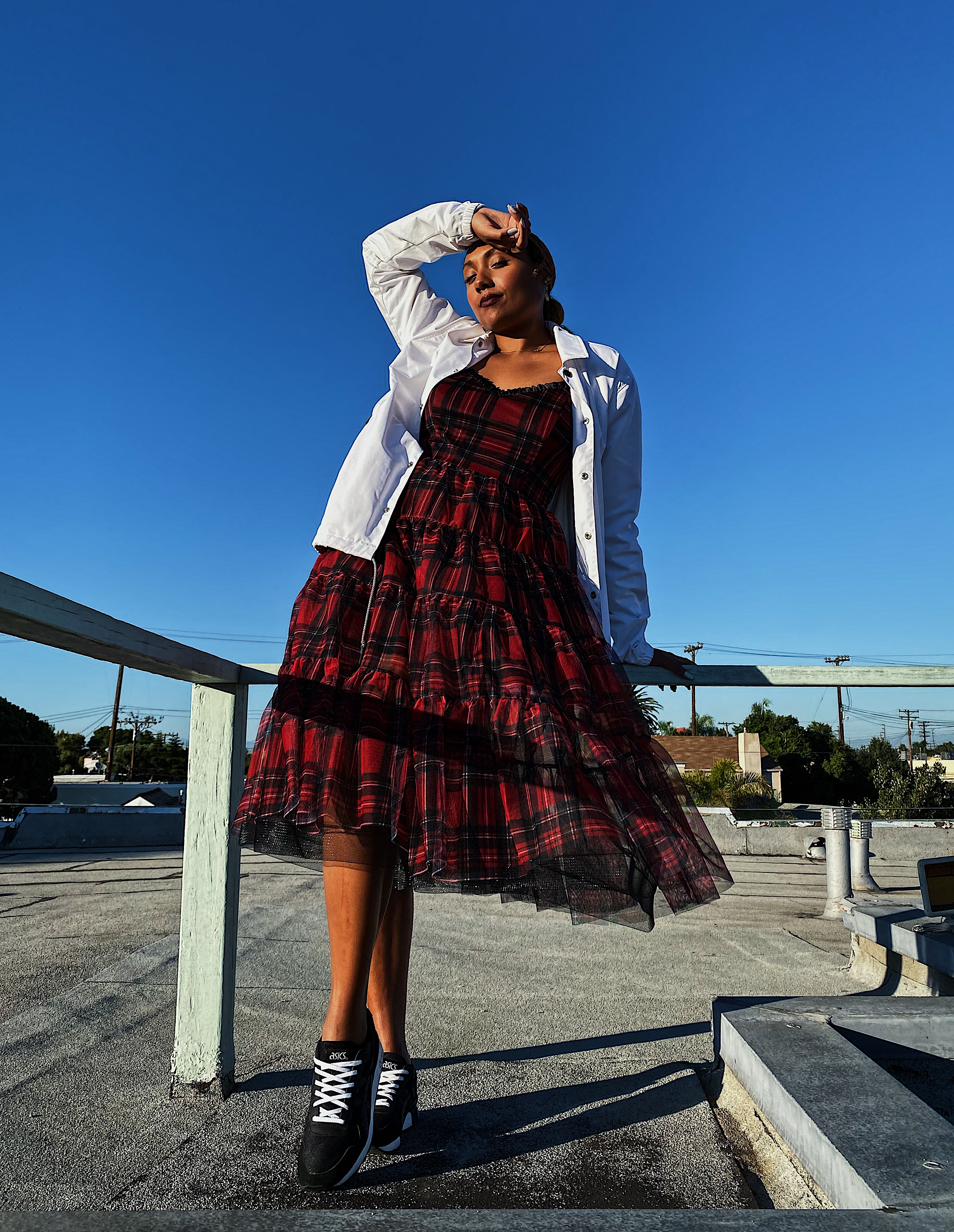 wear who you are-personal style-plaid dress with jacket-sporty lux-fit femme