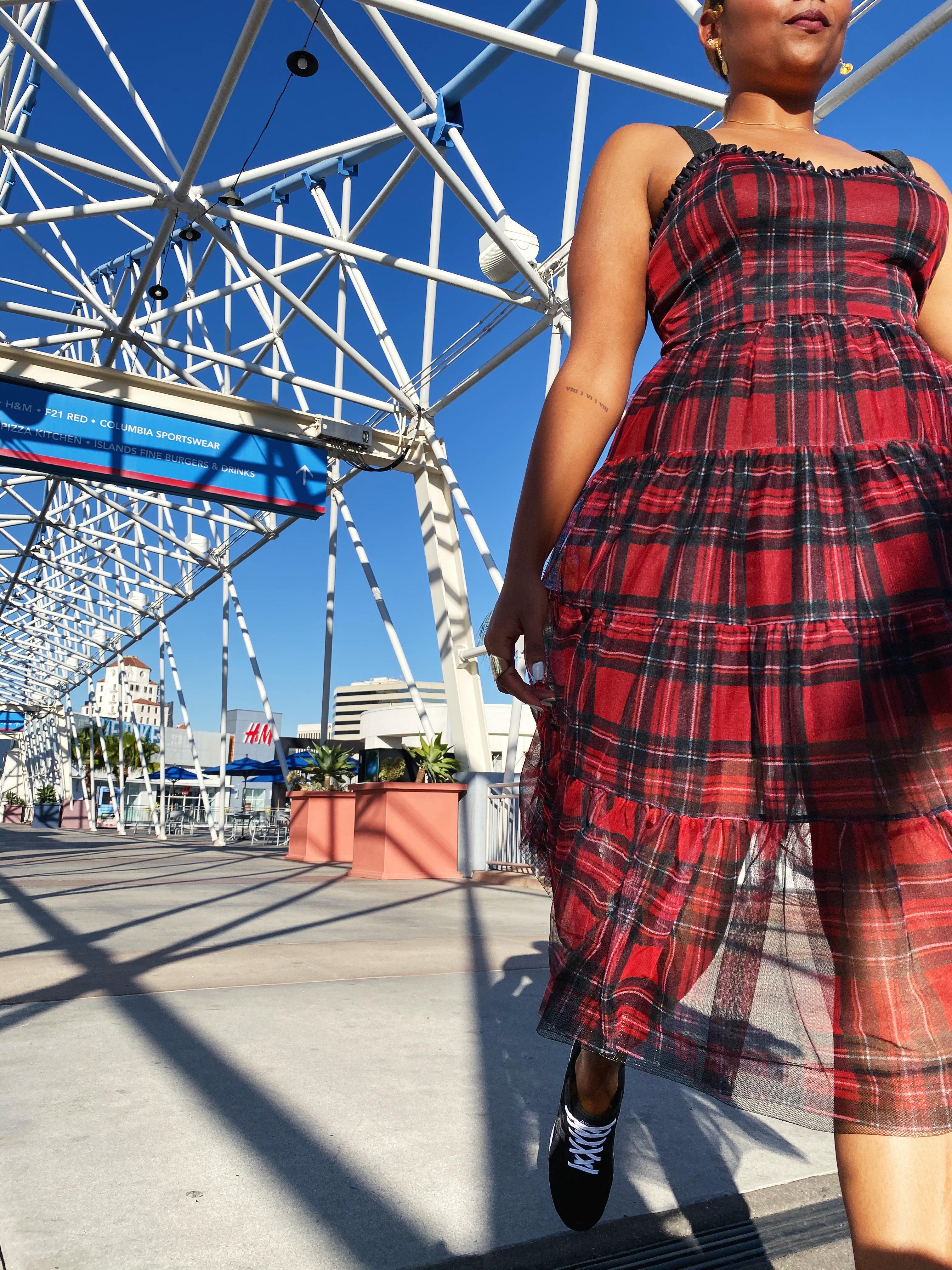 red plaid dress-betsey johnson-nordstrom rack-the pike-long beach