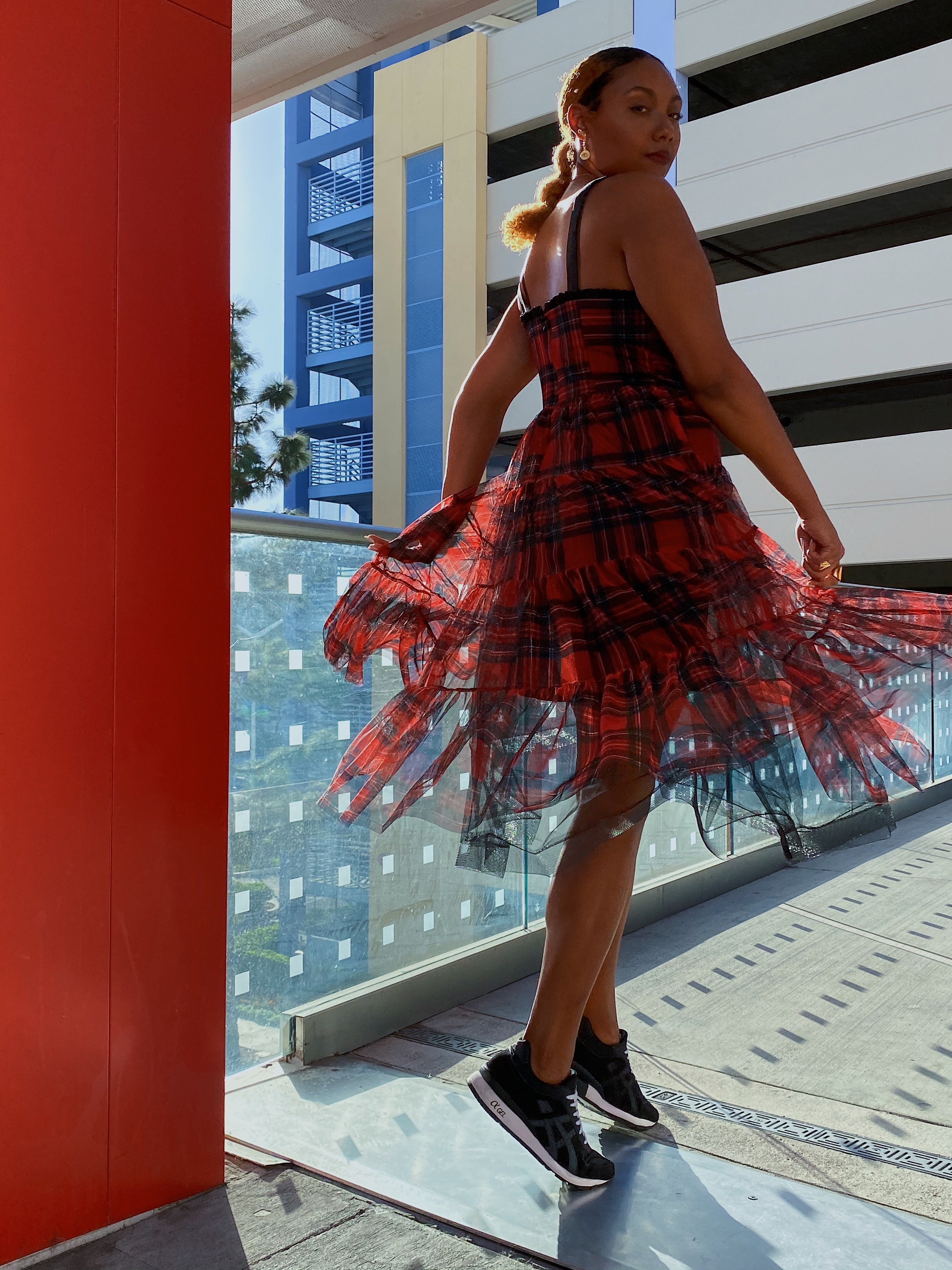red plaid dress-betsey johnson-fit femme-sneakers with dresses