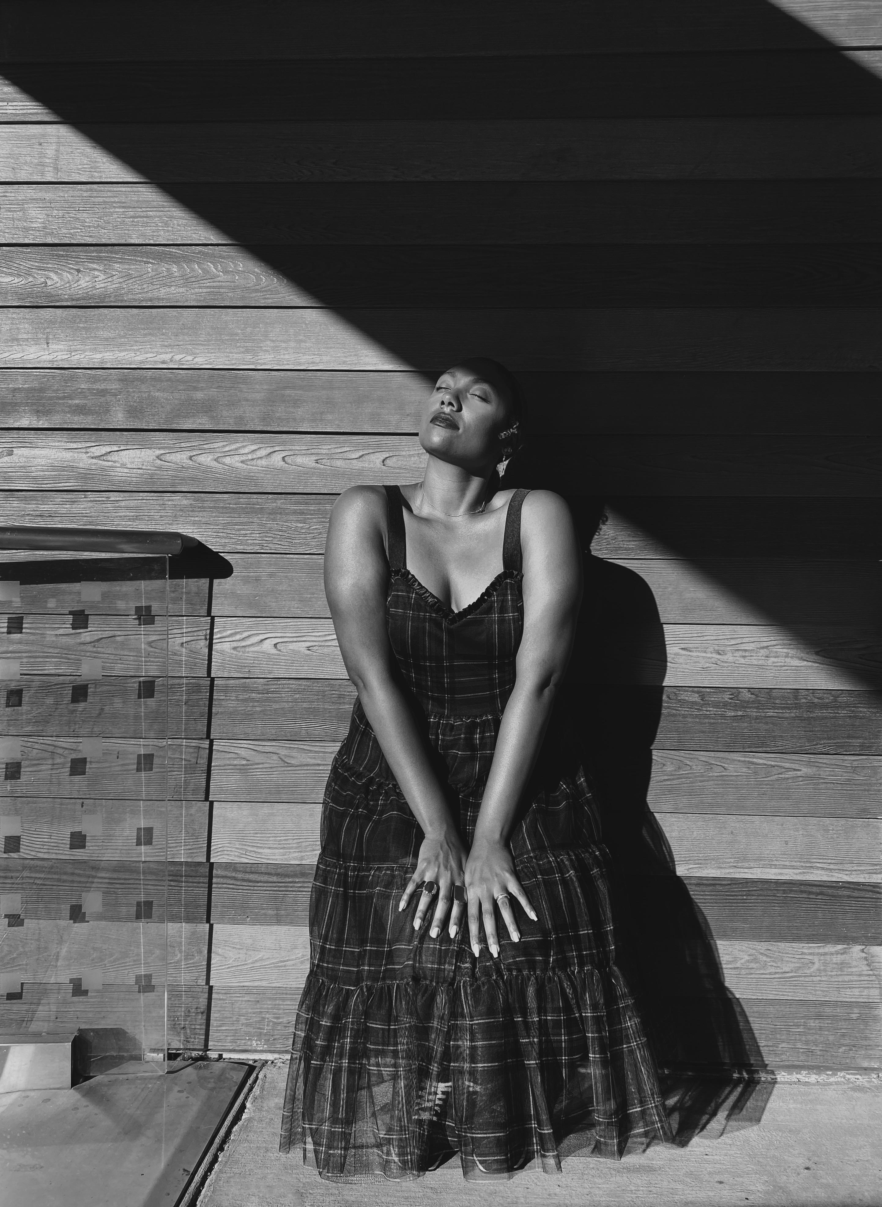 black and white photo-plaid dress
