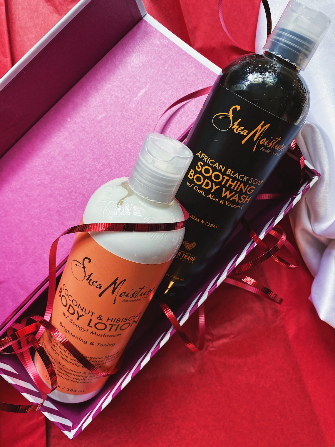 shea moisture coconut hibiscus body lotion-african black soap soothing body wash