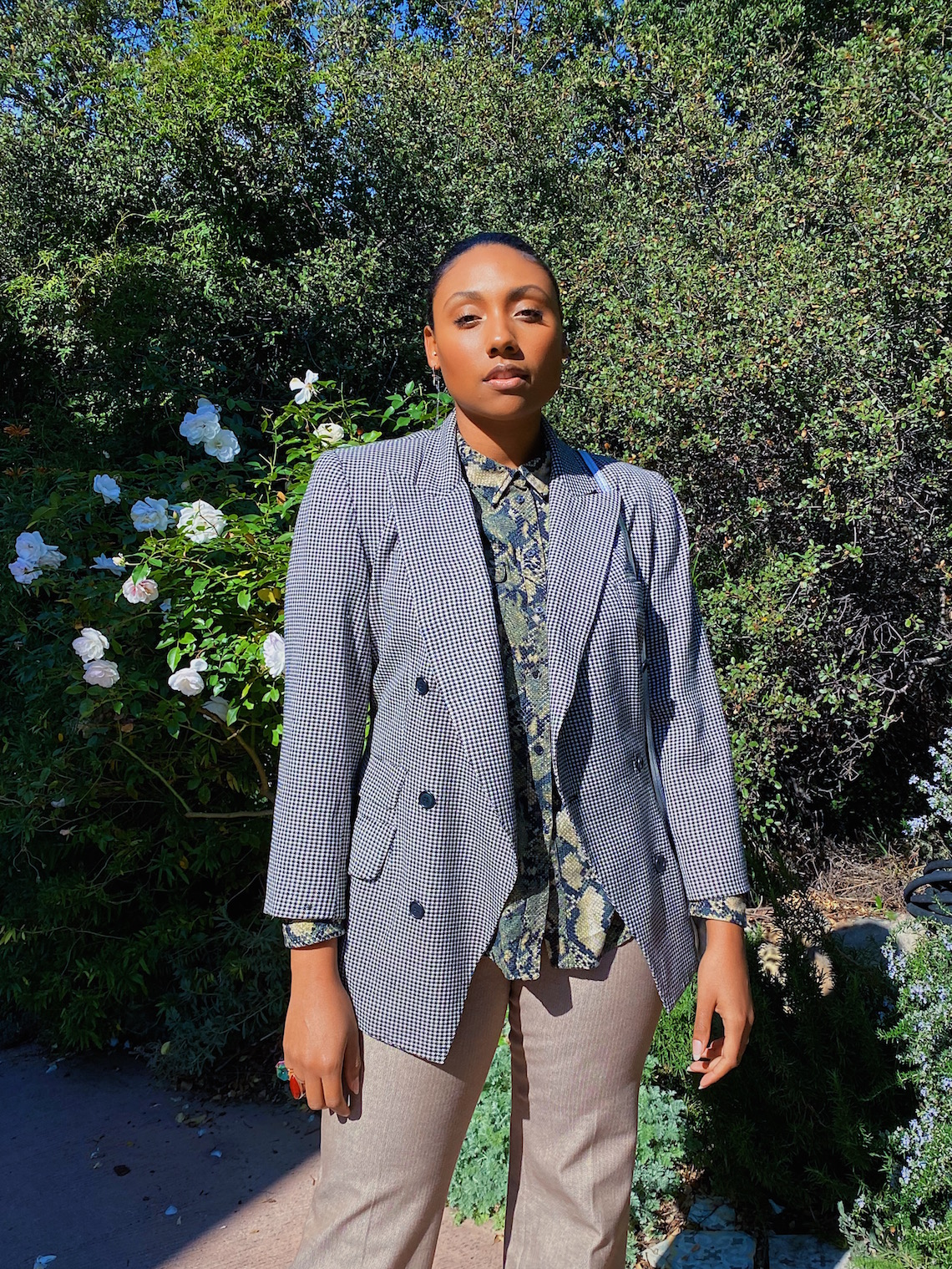 wedding guest outfit-slacks-blazer-snake print blouse