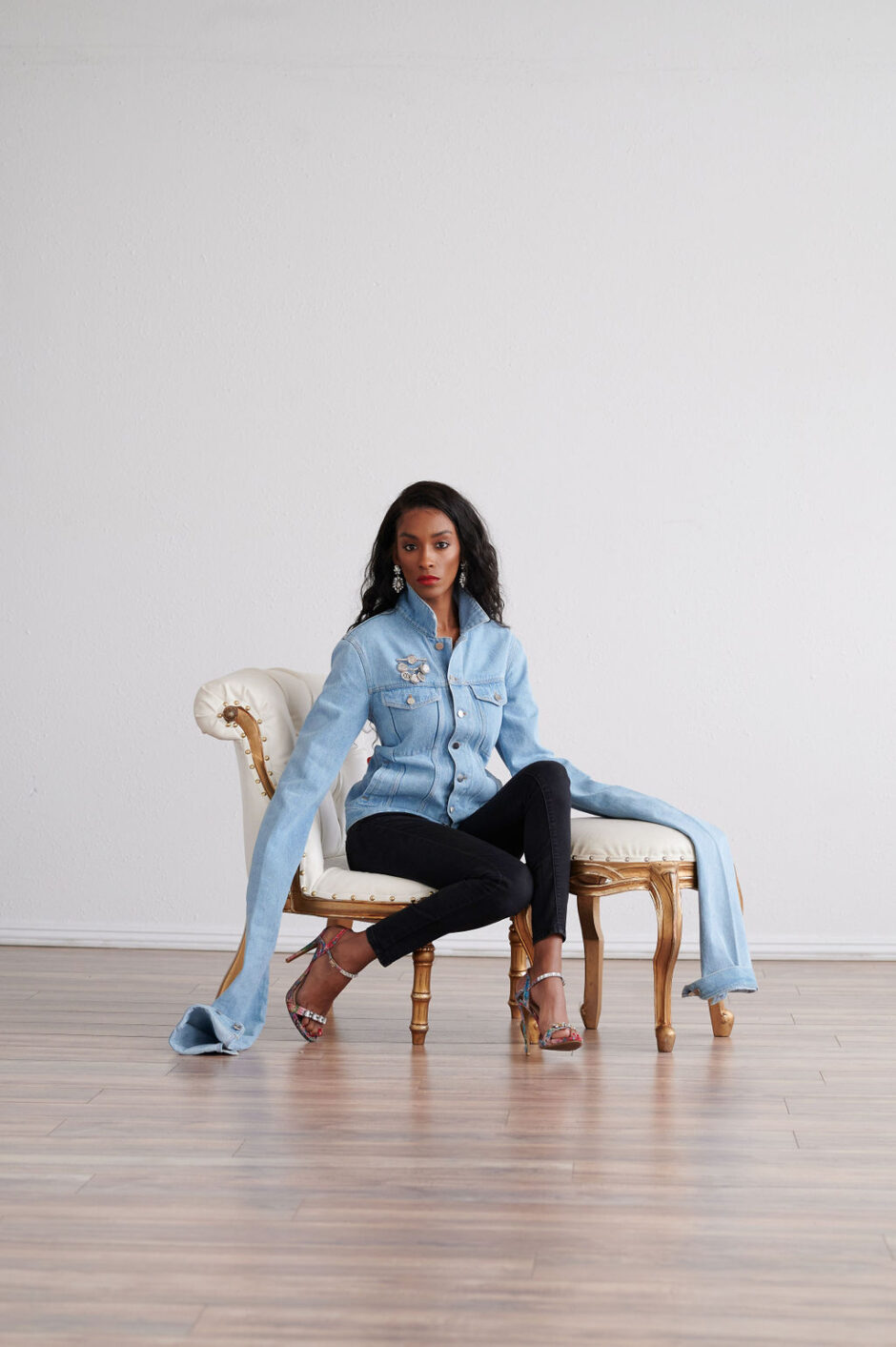 Annju'lia Smalls In Y/Project-styled by melissa-lcm-sheldon botler photography-denim jacket-elongated sleeves-high fashion-editorial