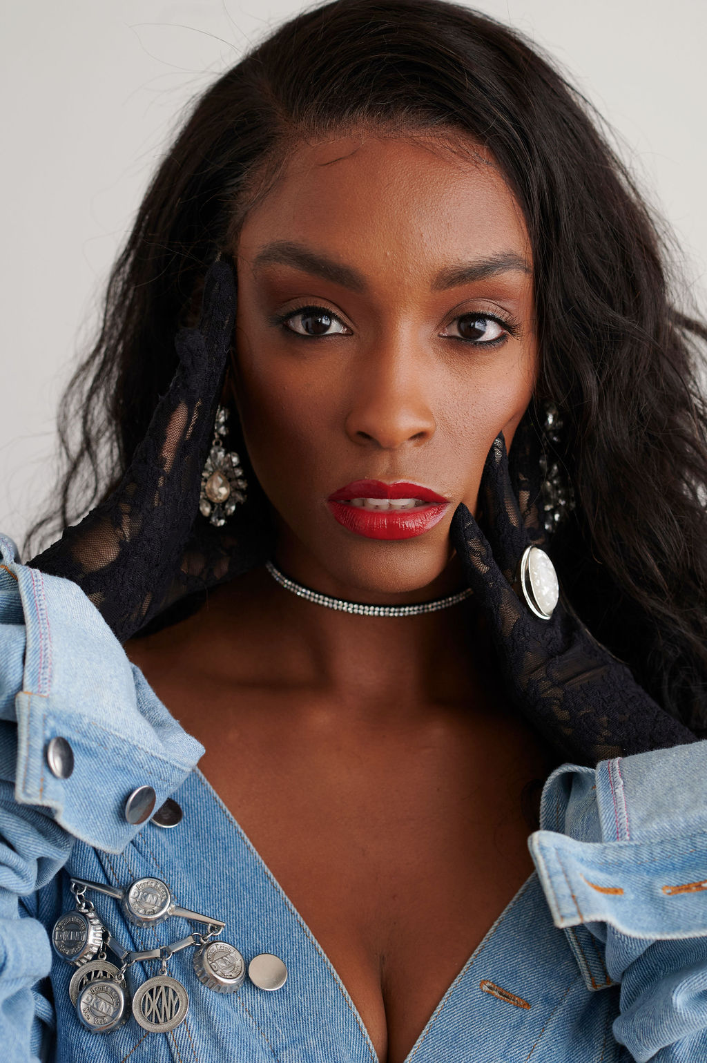 Annjulia Smalls In Y Project-styled by melissa-lcm-sheldon botler photography-denim jacket-elongated sleeves-high fashion-portrait-black model-los angeles