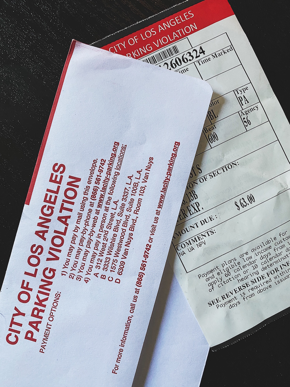 parking ticket-los angeles